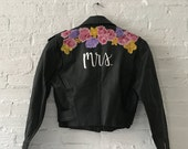 """Hand-Painted Vintage Leather """"Mrs"""" Jacket for Brides"""