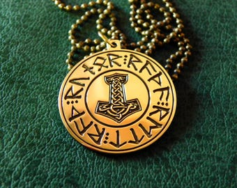 """Runic Circle inscription """"The runes will point the Way"""" , """"Mjollnir"""" , """"Hammer of Thor"""" Amulet, Norse, Nordic"""