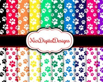 Buy 2 Get 1 Free-20 Digital Papers. Paw Prints in Rainbow Colours (17D no 1) for Personal Use and Small Commercial Use Scrapbooking