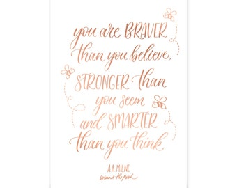 Winnie the Pooh - Hand lettered quote