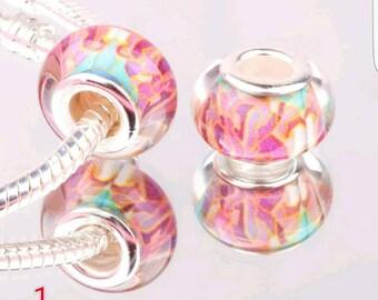 Colorful Silver Murano Lampwork Charm - European Bracelet