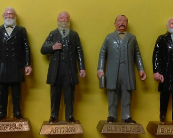 "6 Vintage MARX US Presidents #s 19-25 Hand painted figures, Hayes, Garfield...2.75"", VG 1960s"