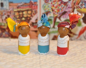 Peg dolls - Caribbean - The Caribbean - toys for children wooden