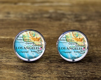 Los Angeles map cufflinks, Los Angeles cufflinks, Los Angeles map jewelry