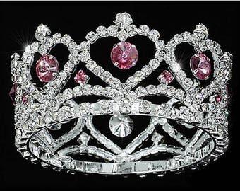 Newborn Mini Crown Pink Accent/Baby Keepsake/Baby Gift/ Maternity Gift/ Tiara/ Austrian Crystal Rhinestone/Baby Shower Gifts/Baby Photo Prop