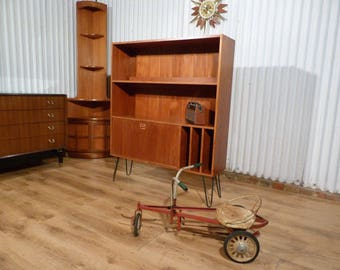 Fantastic Danish teak record cabinet wall unit on industrial hairpin legs