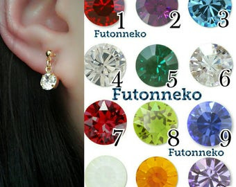 Birthstone 6mm Swarovski crystal Invisible clip on earrings or Sterling Silver earrings,Gold or Sliver,Clip On Earrings,Non pierced Earrings