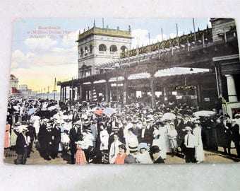 Vintage Postcard 1914 Atlantic City Boardwalk Million Dollar Pier