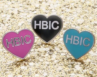 HBIC Heart - Hard enamel lapel pin/brooch