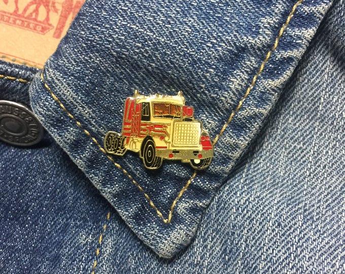 Vintage big rig truck enamel lapel pin | brooch (stock# 638) trucker, trucking, highway, pinback, hat pin, brooch, enamel pin, flair