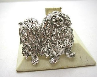 Vintage Art Deco Silver Plate & Marcasite Pekinese Dog Brooch Pin