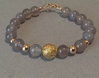 Smokey Quartz Bracelet, Agate Bead Bracelet, Agate Bracelet, Agate Stone, Gray Beads, Agate Beads