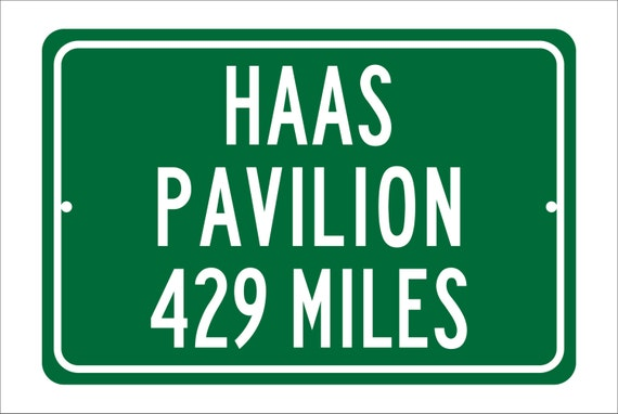 Custom College Highway Distance Sign to Haas Pavilion | Home of the California Golden Bears | Golden Bears Basketball | UC Berkeley| Cal