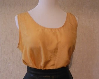 Yellow Silk Sleeveless Blouse - Size L XL 12 14 16 - Vintage