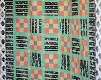 Queen Bed Quilt - Handmade Quilt - Machine Made - Teal - Quilt