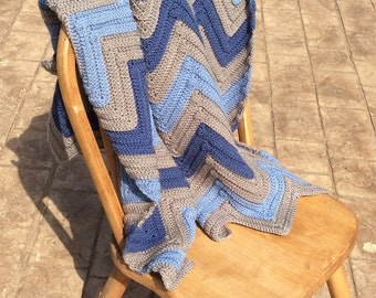 Grey and Blues Chevron Crocheted Throw