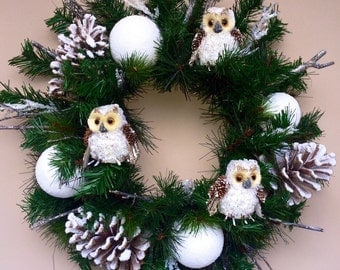 Winter Wreath with Snowy Owls
