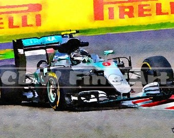 Nico Rosberg Mercedes F1 Racing Car - Limited Edition Art Print of my Original Water Colour Painting
