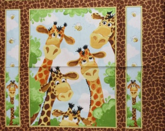Susybee, Giraffe Baby Panel w/ smiling faces, 1 yard