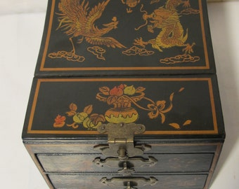 Vintage black with gold flower  jewelry box