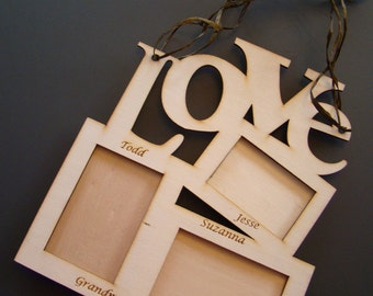 Natural Wooden Love Three Picture Photo Frame Custom Laser Engraved Personalized