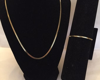 Gold Serpentine Chain Necklace and Bracelet Jewelry Set