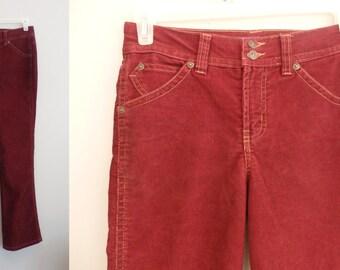 90s  Gloria Vanderbilt Cord Jeans Wine burgundy Corduroy Jeans Womens 32 x 32