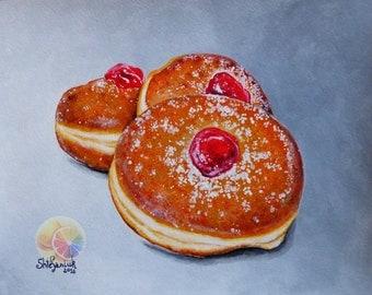 "Donut painting, Doughnut Painting, 8""x10"" original food painting, Dessert Painting, Bakery Art, Kitchen Wall Art, Dining room decor, food"