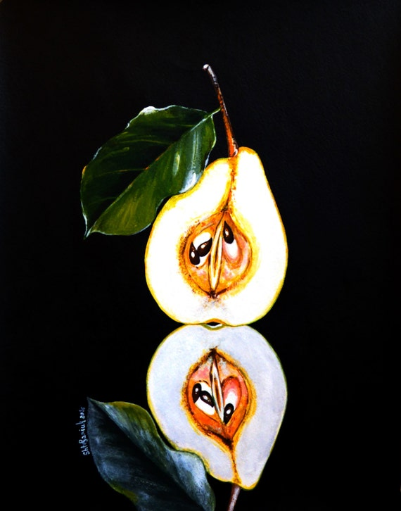 Pear painting on black background 11x14 acrylic for Acrylic painting on black background