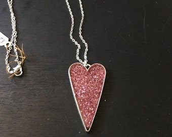 Silver with pink glitter heart necklace