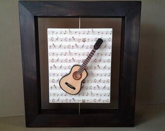 Wall art wood guitar