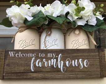 mason jar centerpiece, mason jar decor, table tope centerpiece, farmhouse decor, farmhouse style, welcome to my home