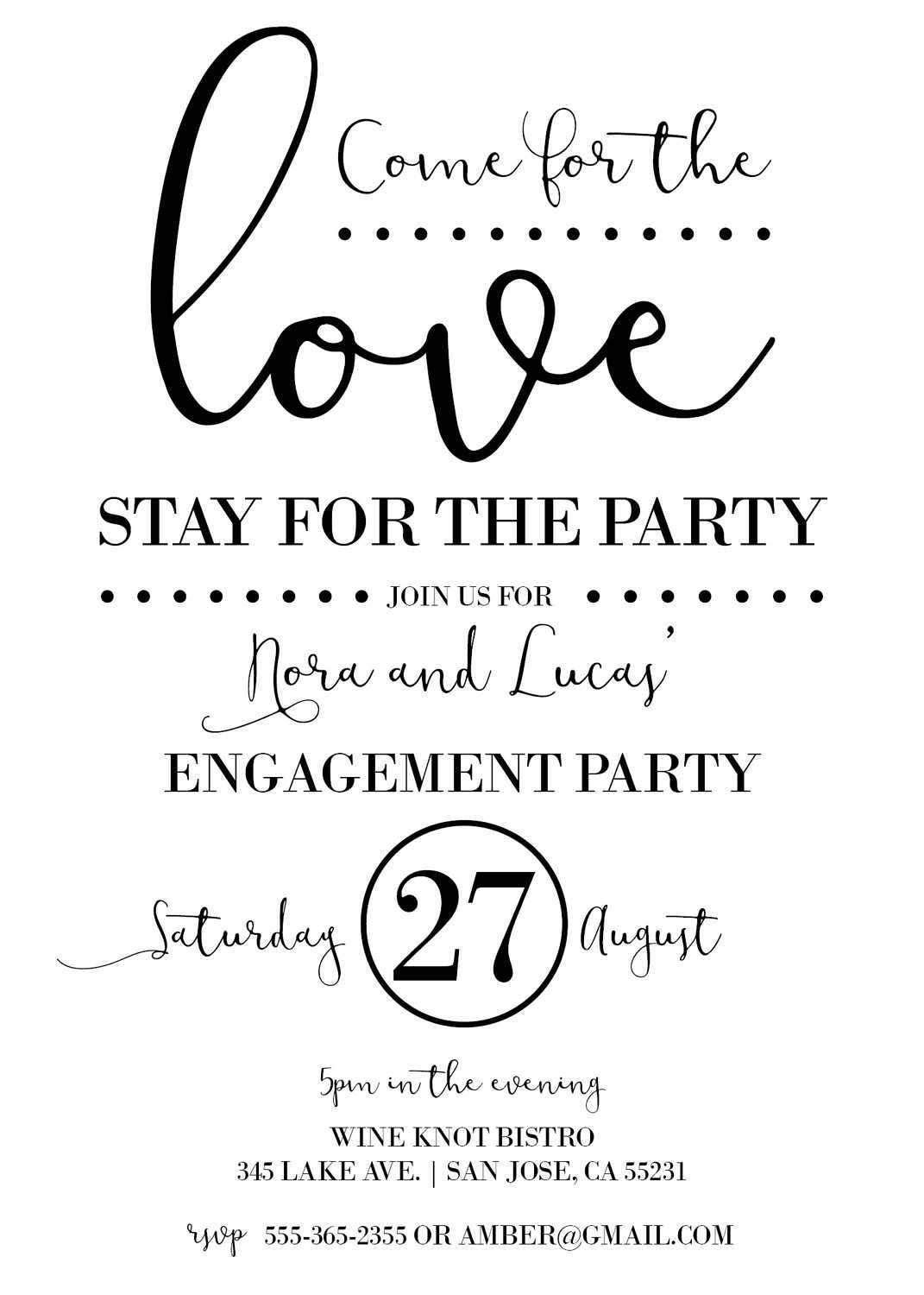 Engagement Invitations | Come for the Love, Stay for the Party ...