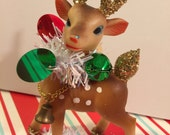 Plastic Christmas Deer Vintage Rudolph Reindeer Kitsch Retro 50s Christmas Holiday Decoration