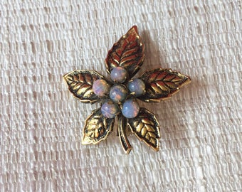 Gold tone maple leaf brooch with synthetic opals-leaf jewelry-vintage costume jewelry
