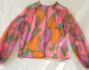 Vintage 60's Pink and Orange Mod Graphic Print Top - Size S - M