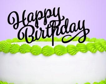 Happy Birthday Cake Topper, Birthday Cake Topper - Set of 1