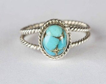Chunky Blue Copper Turquoise Ring, Pure 925 Sterling Silver Ring, Twisted Band Ring, Healing Ring, Good Fortune Ring, Turquoise Ring