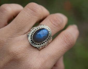 Labradorite Ring, Natural Labradorite Gemstone Ring, Pure 925 Sterling Silver Labradorite Ring, Labradorite Jewelry, Boho Ring, Silver Ring