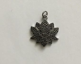 Pave  black spinal sterling silver pendant