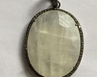 Pave diamond sterling silver moonstone pendant