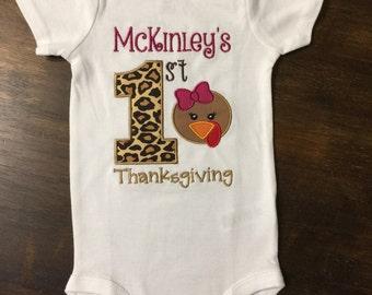 Baby Girl First 1st Thanksgiving Shirt Onesie in Leopard Print & Plum // Baby First 1st Thanksgiving Shirt Cheetah // Thanksgiving Bodysuit