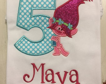 Troll Poppy Trolls Birthday Shirt // Troll Shirt // Girl Birthday Shirt // Monogrammed Birthday Shirt // Troll 2nd 3rd 4th 5th 6th Birthday