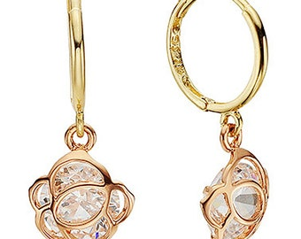14k Solid Yellow Gold hoop Earrings 6828 Charming Flower Design Lovely