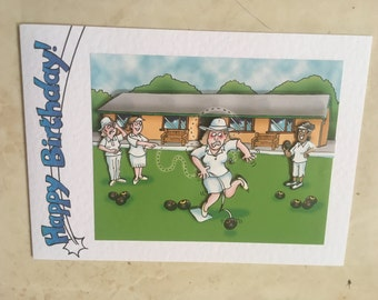 """Handmade  Happy Birthday card 3D decoupage humourous female bowls player 7"""" x 5"""" amusing comical funny bowling crown green"""