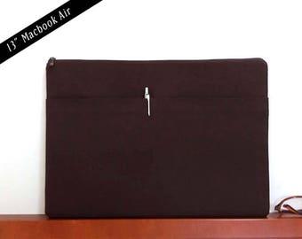 """13""""Macbook air case,Macbook Sleeve,13""""Macbook air zipper case,13""""Macbook air padded sleeve,Laptop Sleeve,Chocolate brown,13""""MB-5A"""
