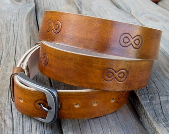 Men's Leather Belt, Light brown infinity cow belt, Rustic leather belt, Hand dyed and antiqued,Top quality vegetable tanned leather