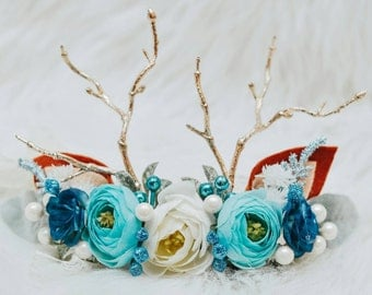 CUSTOM reindeer floral Crown, baby and momma size on a ribbon! Stays on well and is perfect for any season!!