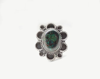 Floral Vintage  • Size 5.75 • Sterling + Natural Azure Malachite Flower Ring