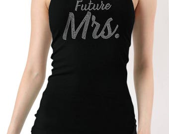 Future Mrs. Rhinestones Ribbed Tank Top